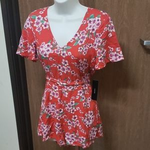 NWT Lulu Red Floral Romper Size XS